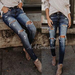 Denim - Jeans denim distressed skinny